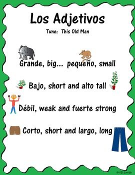 Spanish adjectives vocabulary song
