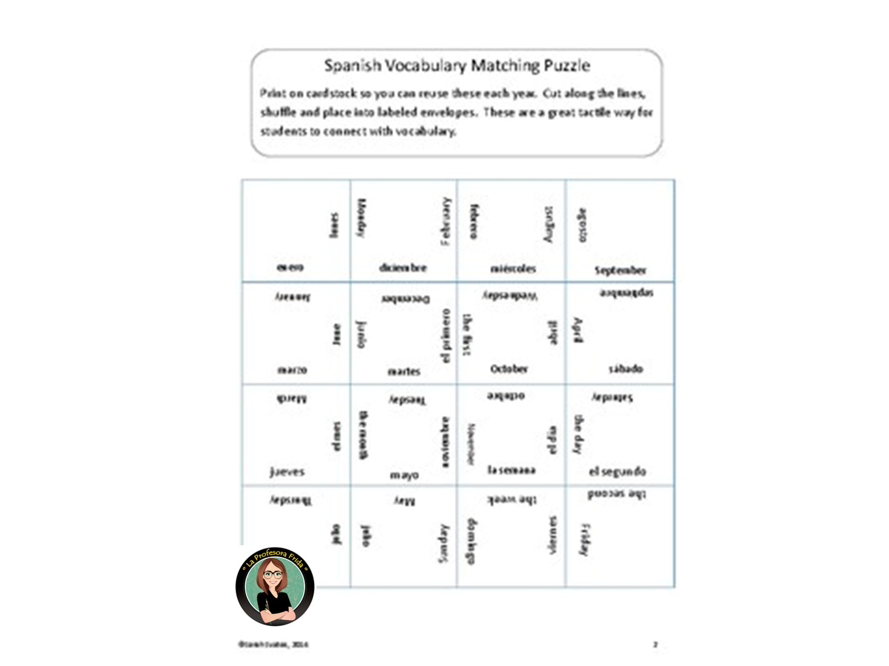 Spanish puzzle, Spanish days of the week, Spanish months of the year, matching square